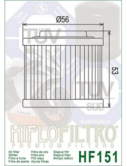 Filtre à Huile Moto Hiflofiltro HF151 pour BMW G 650 X-Moto 2007-2012