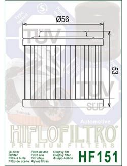 Filtre à Huile Moto Hiflofiltro HF151 pour BMW G 650 GS ABS 2012-2015