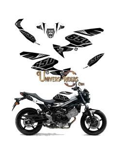 Kit Deco UP MAXIMIZE pour Suzuki  SV650 2008-2016 Noir-Blanc