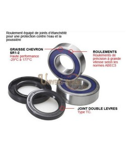 Kit roulements et joints roue avant moto All-Balls pour Yamaha Yamaha SR 125 / SE 1999-2000