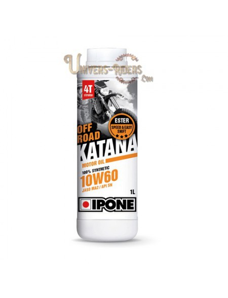 Huile moteur  Ipone Katana Off Road 10W60 100% synthétique 4T (2 litres)