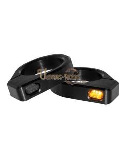 Clignotants LED Micro Noir pour fourches de 54 mm à 56 mm