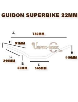 Guidon alu moto TRW superbike argent 22mm