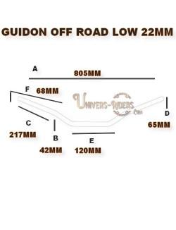 Guidon alu moto TRW off road low argent 22mm homologué TUV