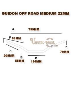 Guidon alu moto TRW off road medium argent 22mm homologué TUV