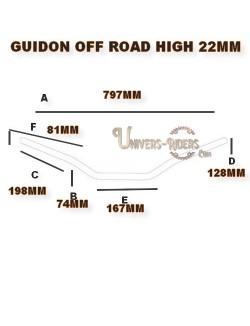 Guidon alu moto TRW off road high argent 22mm homologué TUV