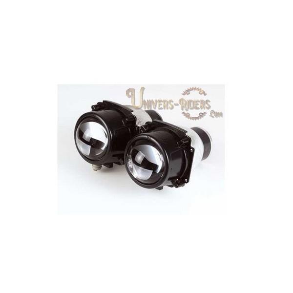 Double optiques lenticulaire code et phare 55W