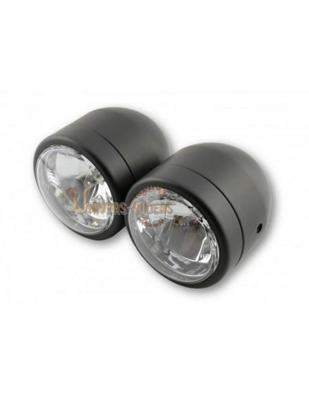 Double optiques acier Noir Code et phare