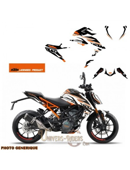 Kit Déco Moto pour KTM Duke 390 Arkade Orange-Blanc