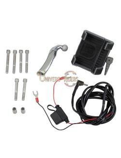 Support téléphone GPS moto avec fixation universelle Chrome cocotte frein ou embrayage