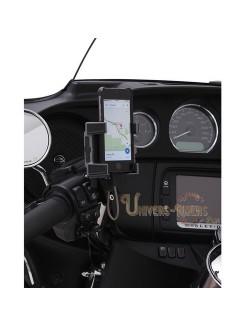 Support téléphone GPS moto avec fixation universelle Noir cocotte frein ou embrayage