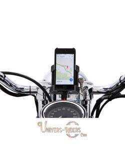 Support téléphone GPS moto avec fixation guidon Chrome 22mm et 25,4mm