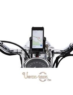 Support téléphone GPS moto avec fixation guidon Noir 22mm et 25,4mm