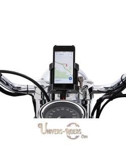 Support téléphone GPS moto avec fixation guidon Chrome 32mm