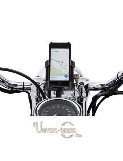 Support téléphone GPS moto avec fixation guidon Noir 32mm