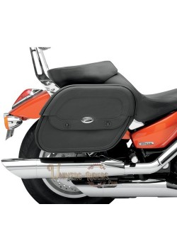 Sacoches cavalieres moto cuir Saddlemen Cruis N emplacement amortisseur