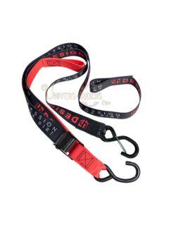 Sangles moto UP Noir/Rouge avec crochet et mousqueton 3.8cm x 2.1 m